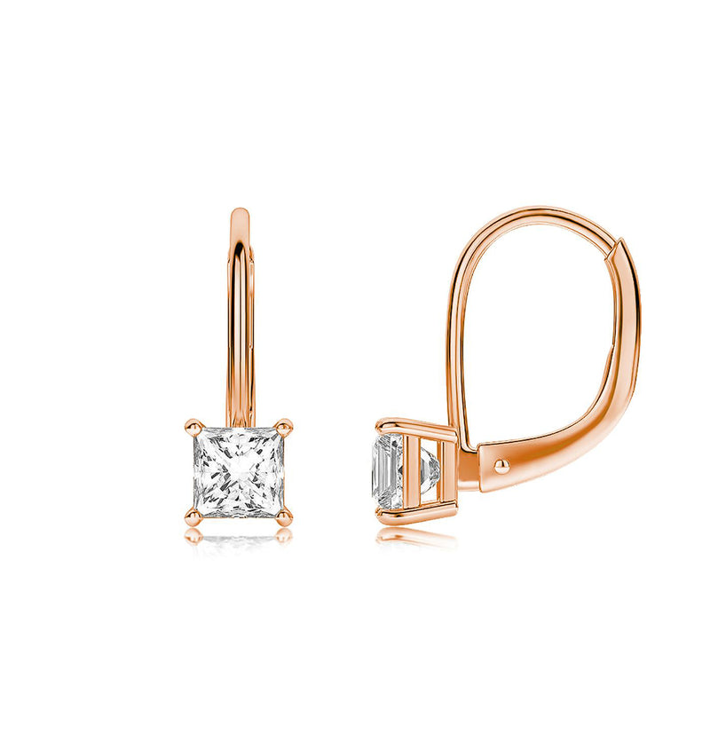 Princess Cut Swarovski Elements Simple Leverback Earrings in 14K Rose Gold