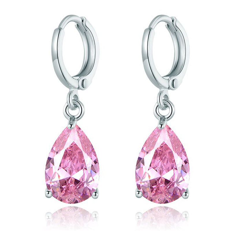 Pink Pear Cut Dangling Leverback Earrings in 14K White Gold