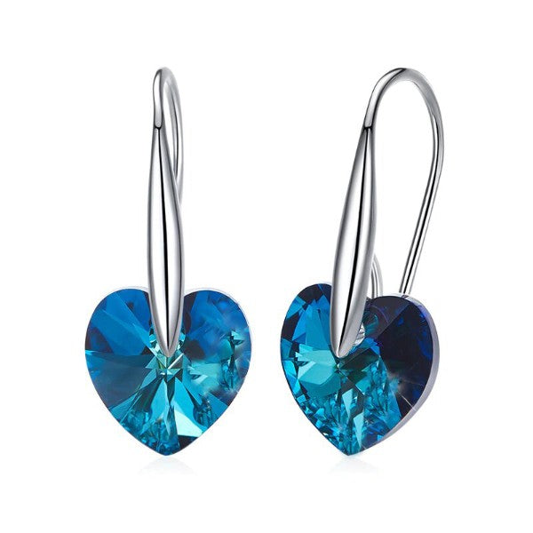 Blue Swarovski Elements Heart Shaped Drop Earrings in 14K White Gold