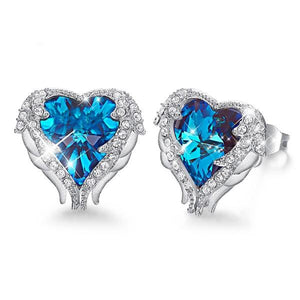 Angel Wings Sapphire Stud 18K White Gold Plated