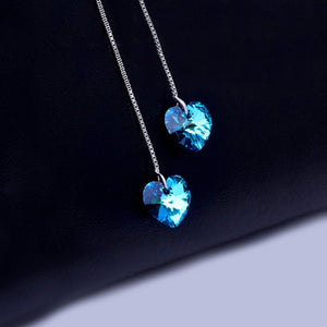 Blue Swarovski Elements Dangling Heart Shaped Threader Earrings in 14K White Gold
