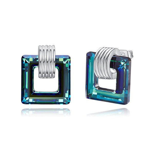 Aruba Blue Austrian Square Shaped Studs in 14K White Gold Plating