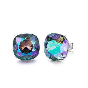 The Northern Lights Aurora B Changing Colors Stud 18K White Gold Plated