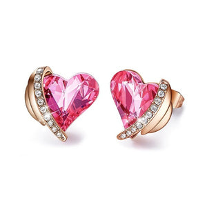 Pink Swarovski Elements Heart Shaped Pav'e Studs in 14K Rose Gold Plating