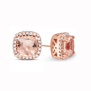 2.00 CTTW Morganite Cushion Cut Pav'e Studs in 14K Rose Gold