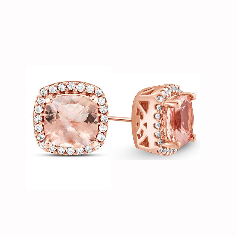 1.00 CT Morganite Halo Princess Cut Stud Earring in 18K Rose Gold Plated
