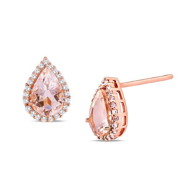2.00 CTTW Morganite Pear Cut Pav'e Studs in 14K Rose Gold