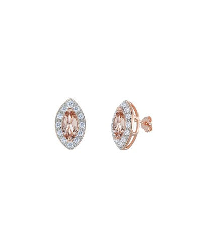 2.00 CTTW Marquis Cut Morganite Studs in 14K Rose Gold
