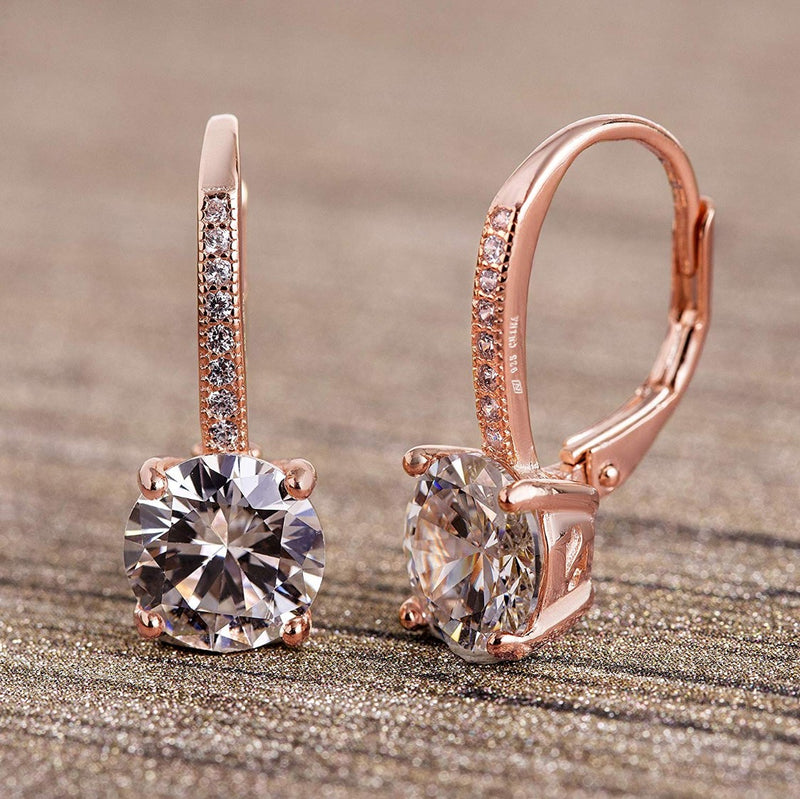 Asscher Cut Swarovski Elements Pav'e Leverback Earrings in 14K Rose Gold