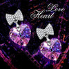 Changing Rainbow Stone Bowtie Heart Drop Earring