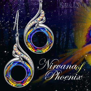 Flaming Phoenix Fire Swirl Drop Earring