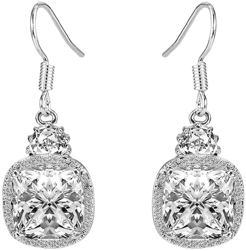 2.00 CT White Topaz Ascher Cut Drop Earring
