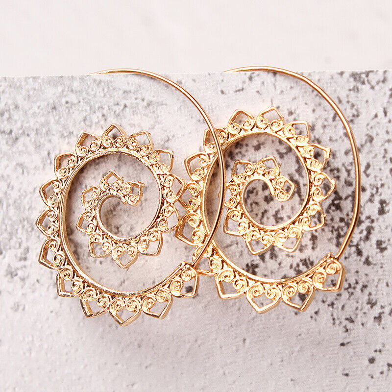 Modern 14K Gold Plating Multi Filigree Heart Swirl Hoop Earrings