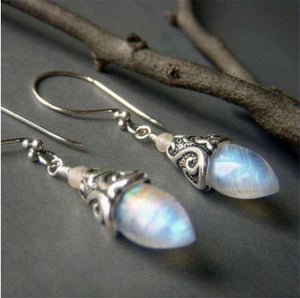 Opal Drop Earring in 18K White Gold Plated