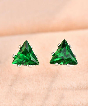 6mm Triangle Stud Earring With Austrian Crystals - Green in 18K White Gold Plated