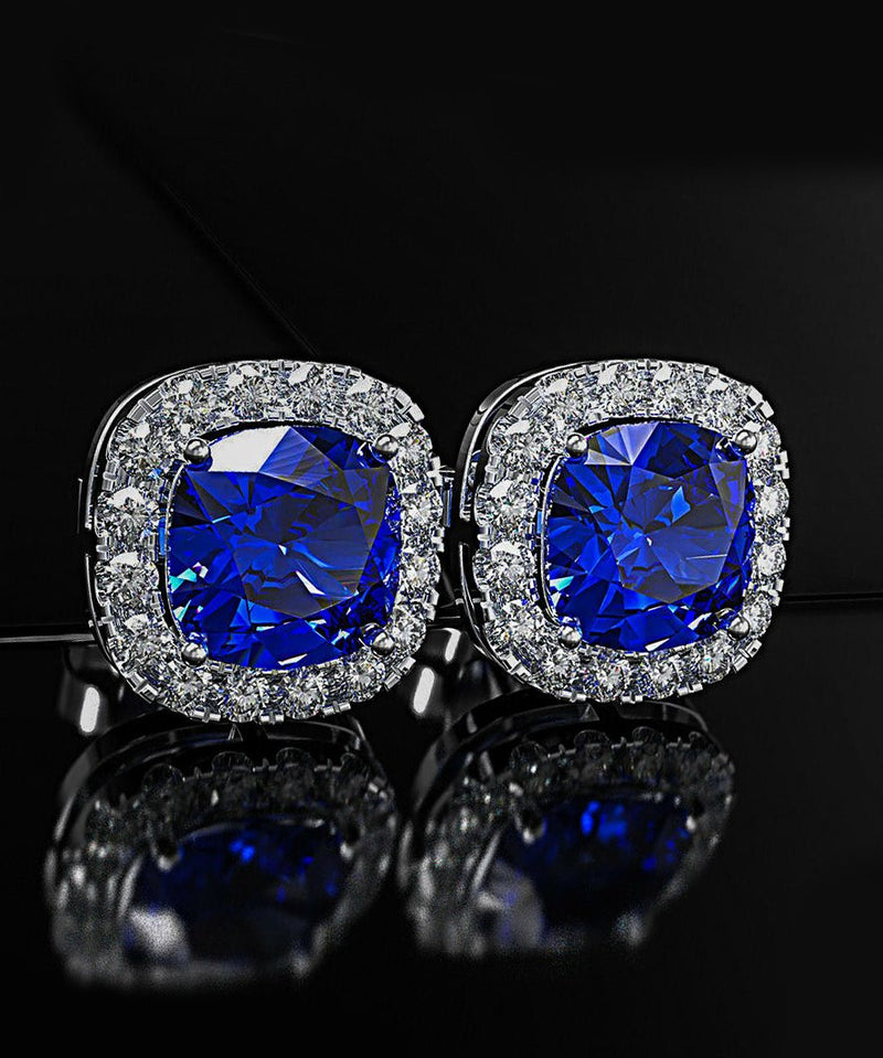 Princess Halo Cut Stud Earring With Austrian Crystals - Blue in 18K White Gold Plated