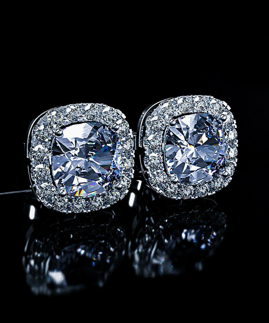 Princess Halo Cut Stud Earring With Swarovski® Crystals - Clear in 18K White Gold Plated