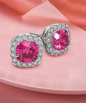 Princess Halo Cut Stud Earring With Austrian Crystals - Pink in 18K White Gold Plated