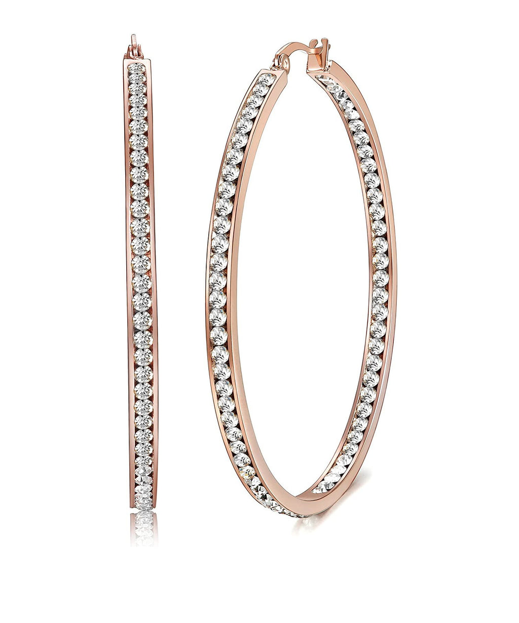 "2"" Pave Hoop Earring With Crystals in 18K Rose Gold Plated"