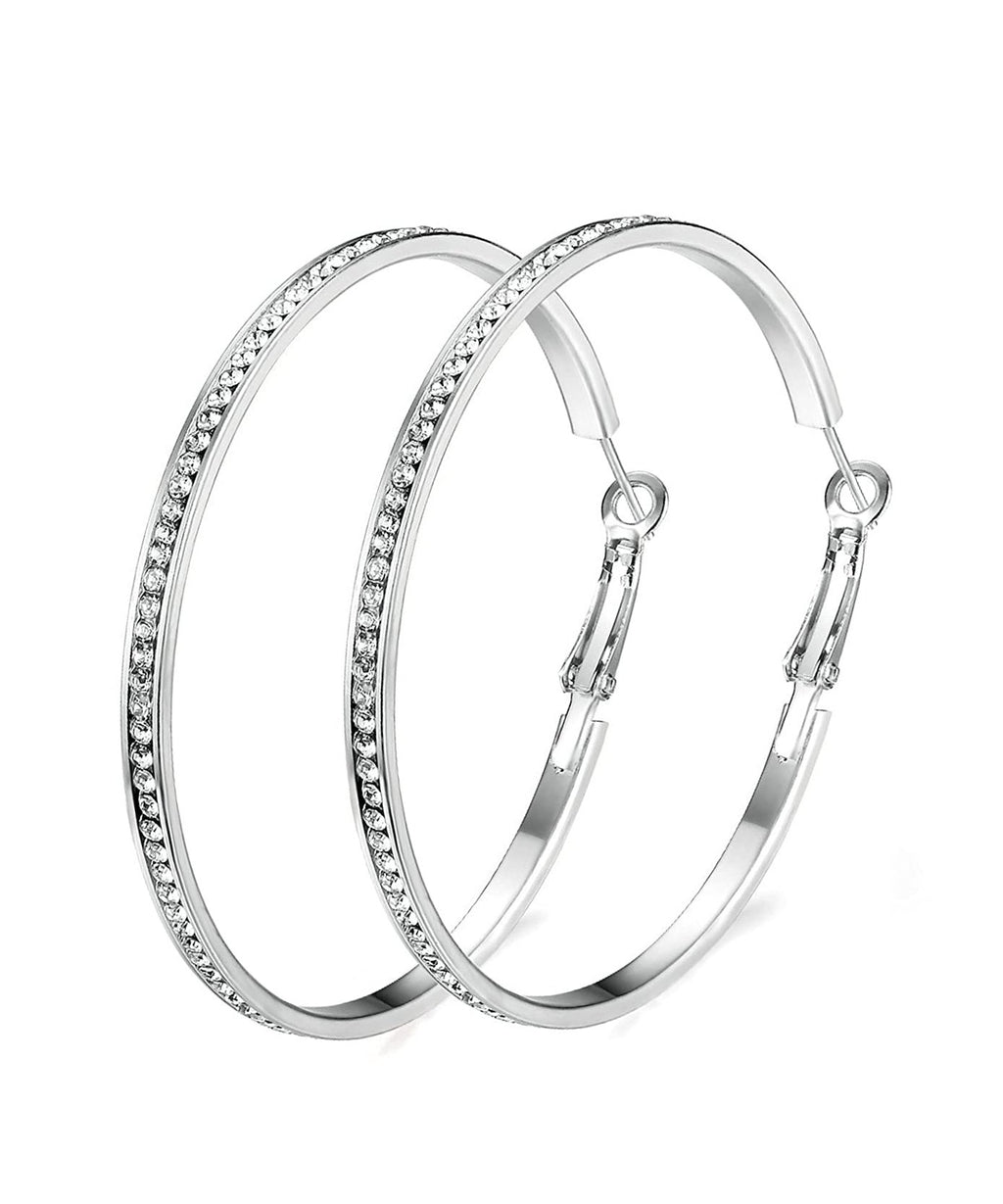 "2"" Pave Hoop Earring With  Crystals in 18K White Gold Plated"
