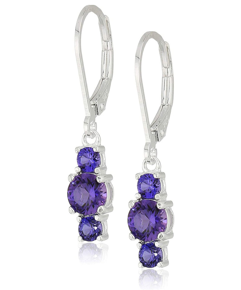 Three Stone Leverback Dangle With Austrian Crystals - Alexandrite in 18K White Gold Plated