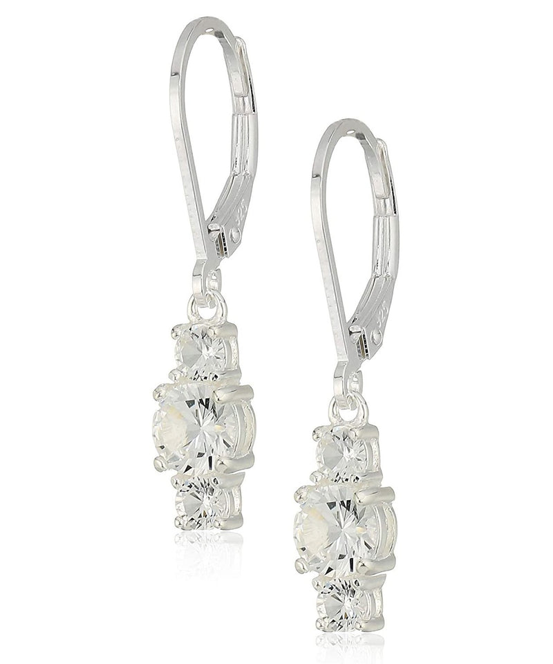 Three Stone Leverback Dangle With Swarovski® Crystals - Clear in 18K White Gold Plated