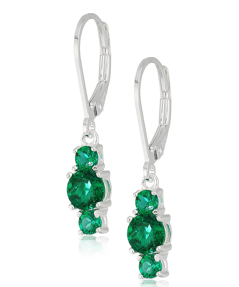 Three Stone Leverback Dangle With Austrian Crystals - Emerald in 18K White Gold Plated