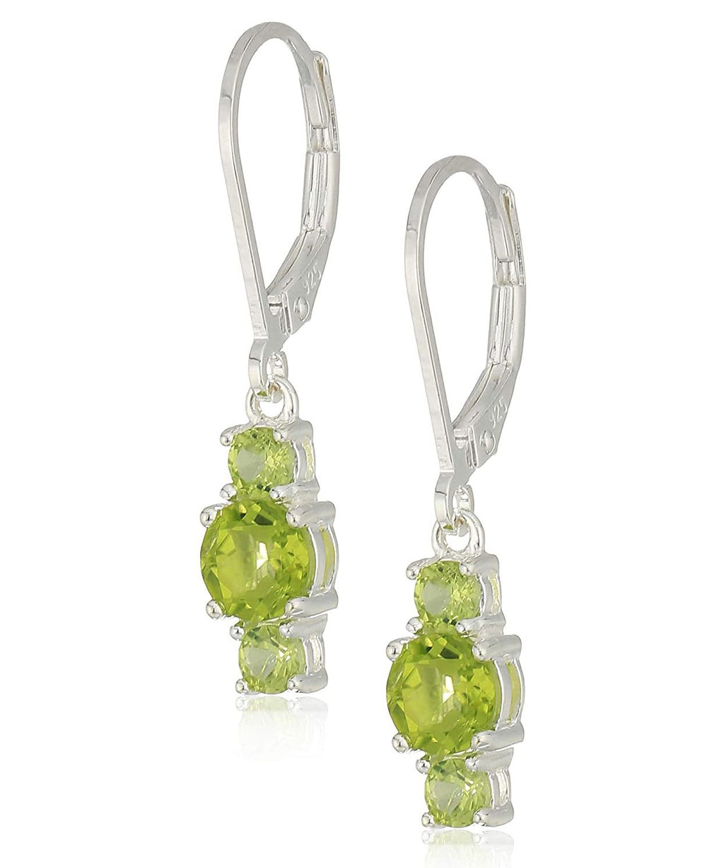 Three Stone Leverback Dangle With Swarovski® Crystals - Peridot in 18K White Gold Plated