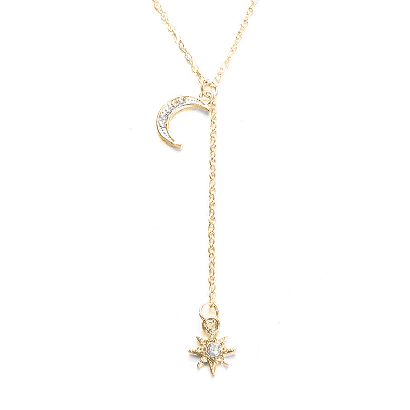 Moon and Star Necklace With Austrian Crystals in 18K Gold Plated