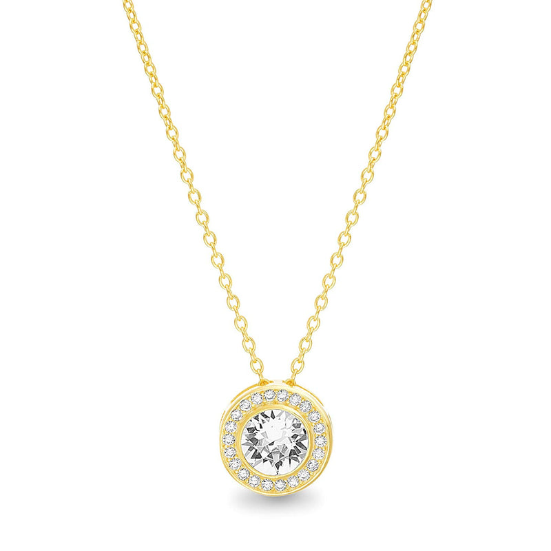 Golden NYC Jewelry Round Halo Necklace Made with Swarovski Crystals in 18K Gold Plated