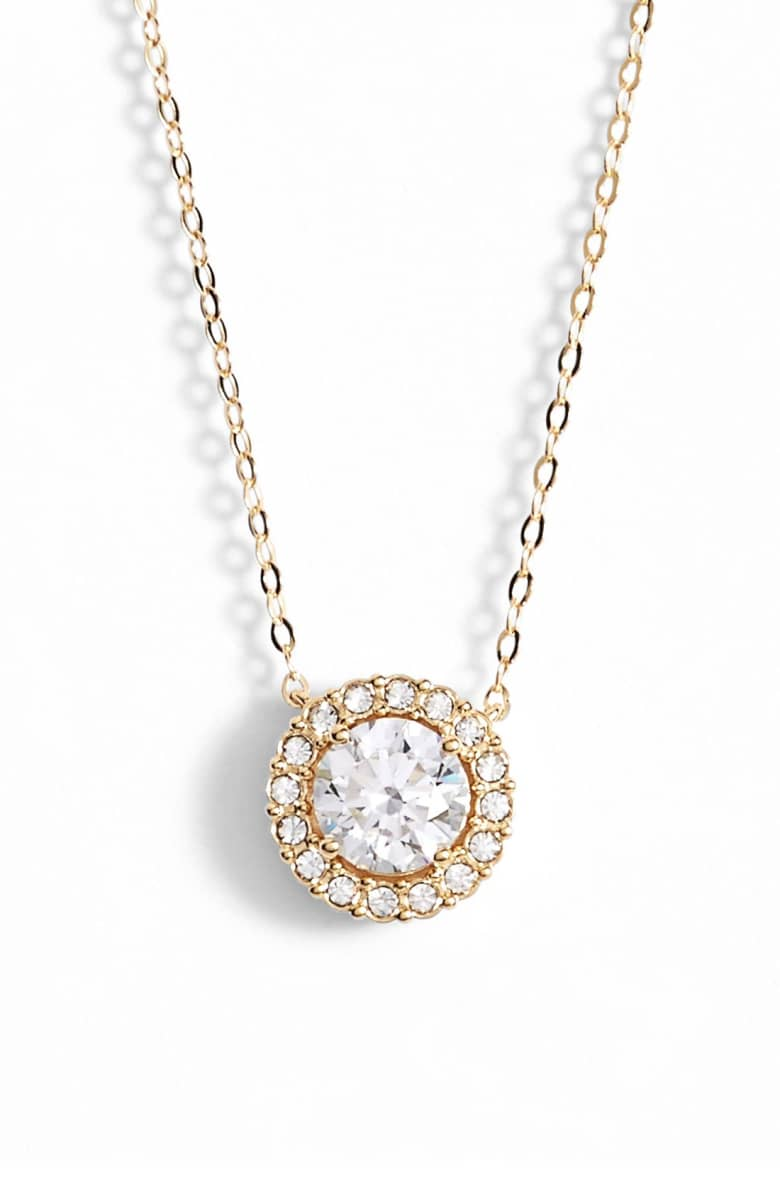 "1.00 CT Swarovski Crystal Halo Disc Necklace 18"" - 18K Gold Plated, Necklace, Golden NYC Jewelry, Golden NYC Jewelry  jewelryjewelry deals, swarovski crystal jewelry, groupon jewelry,, jewelry for mom,"