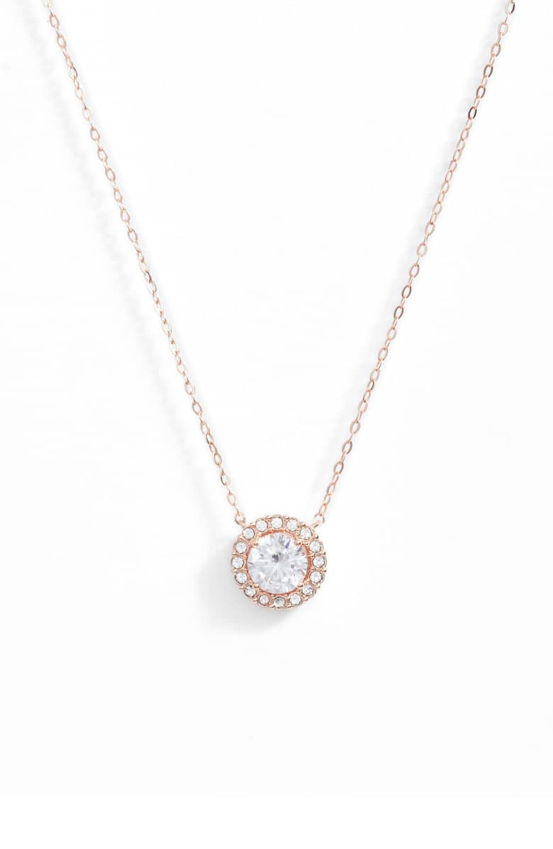 "1.00 CT Swarovski Crystal Halo Disc Necklace 18"" - 18K Rose Gold Plated, Necklace, Golden NYC Jewelry, Golden NYC Jewelry  jewelryjewelry deals, swarovski crystal jewelry, groupon jewelry,, jewelry for mom,"