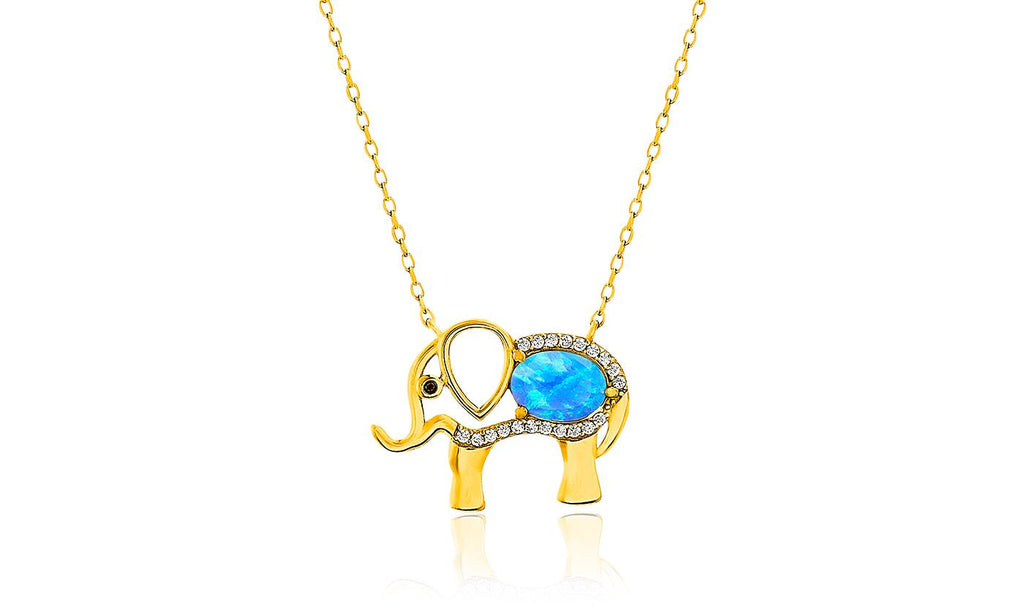 "Opal Created Elephant Necklace with Austrian Crystals 18"" -  Gold"