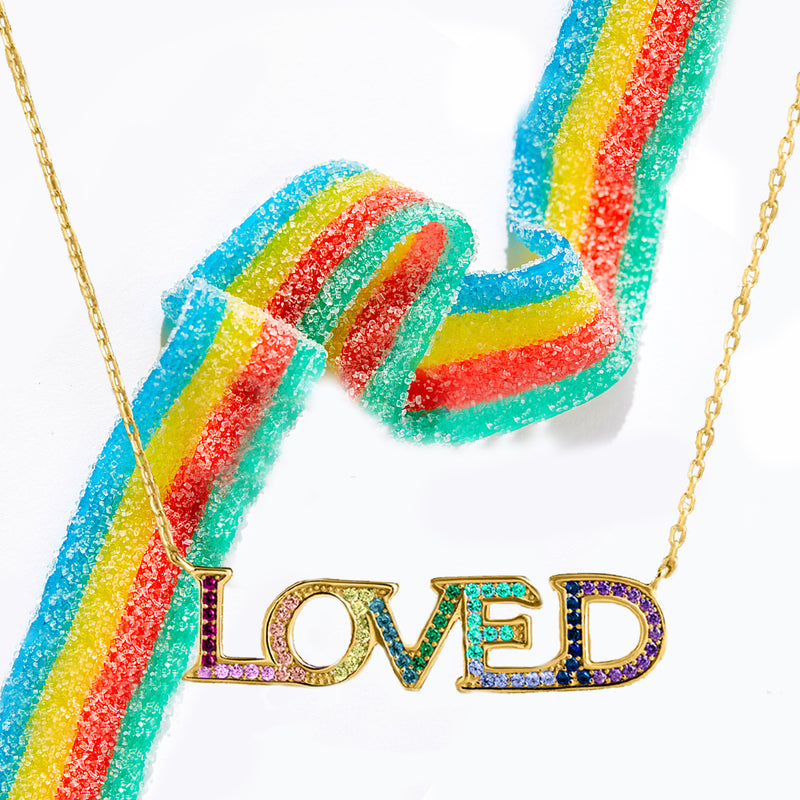 LOVED Necklace with Rainbow Swarovski Crystals 18