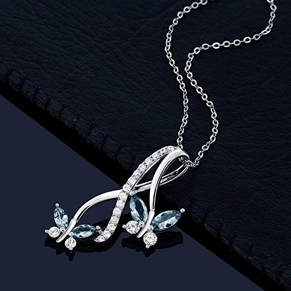 Mother and Child Butterfly Blue Topaz Necklace in 18K White Gold Plated