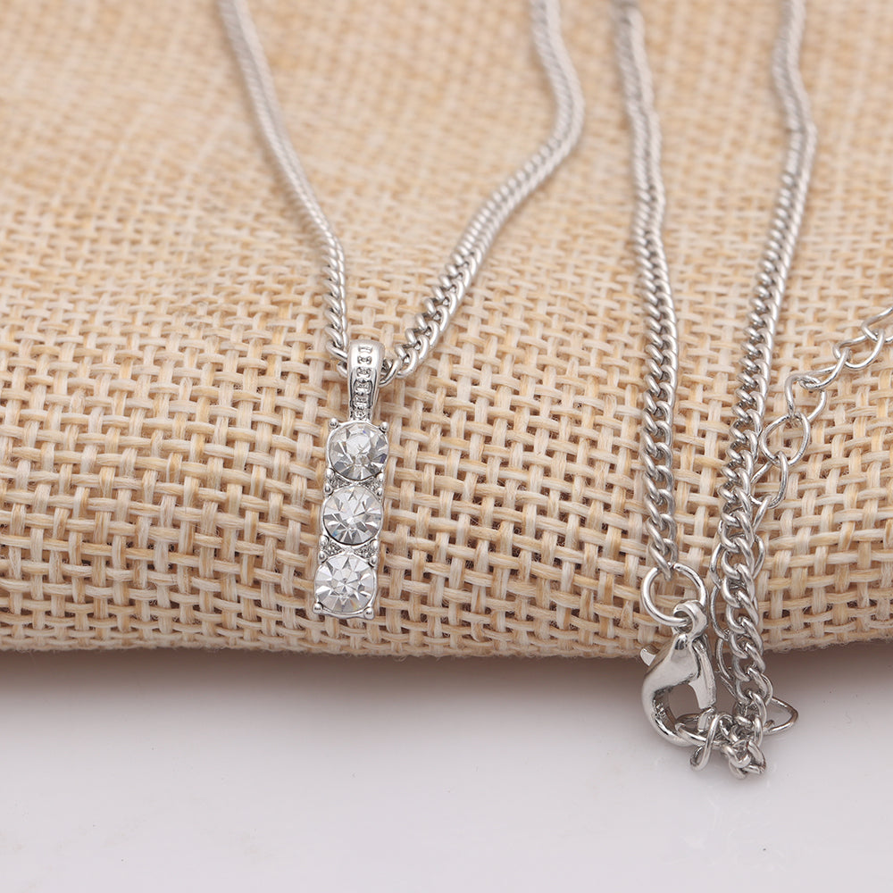 3.00 CT Triple Stone Drop White Topaz Necklace in 18K White Gold Plated, Necklace, Golden NYC Jewelry, Golden NYC Jewelry  jewelryjewelry deals, swarovski crystal jewelry, groupon jewelry,, jewelry for mom,