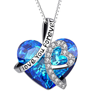 I LOVE YOU FOREVER Blue Austrian Crystal Heart Necklace & Gift Box in 18K White Gold Plated