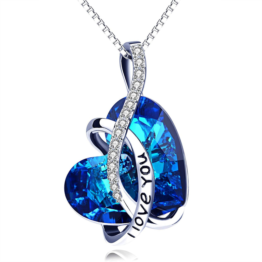 I LOVE YOU Blue Swarovski Crystal Heart Necklace in 18K White Gold Plated