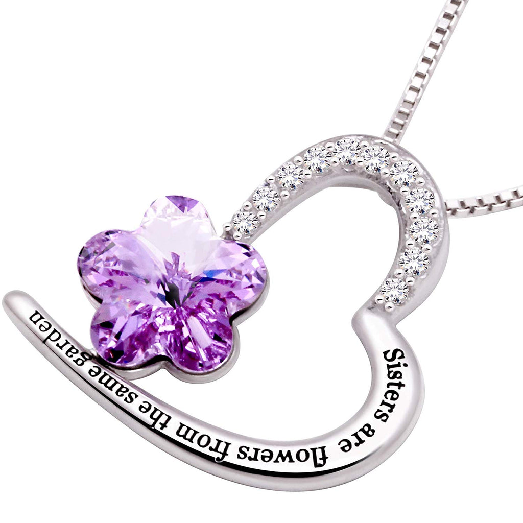 Sisters Amethyst Heart Necklace Embellished with Swarovski Crystals in 18K White Gold Plated