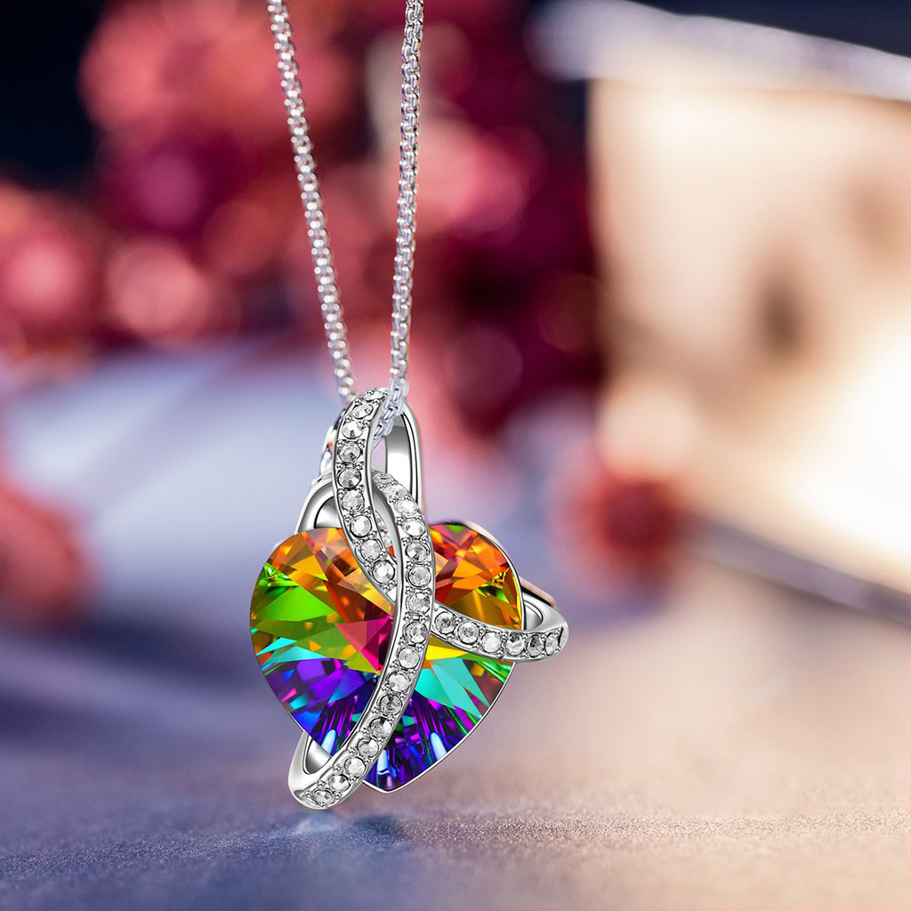 Rainbow Aurora Borealis Austrian Elements Heart Necklace in 18K White Gold