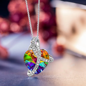 Rainbow Aurora Borealis Swarovski Elements Heart Necklace in 18K White Gold