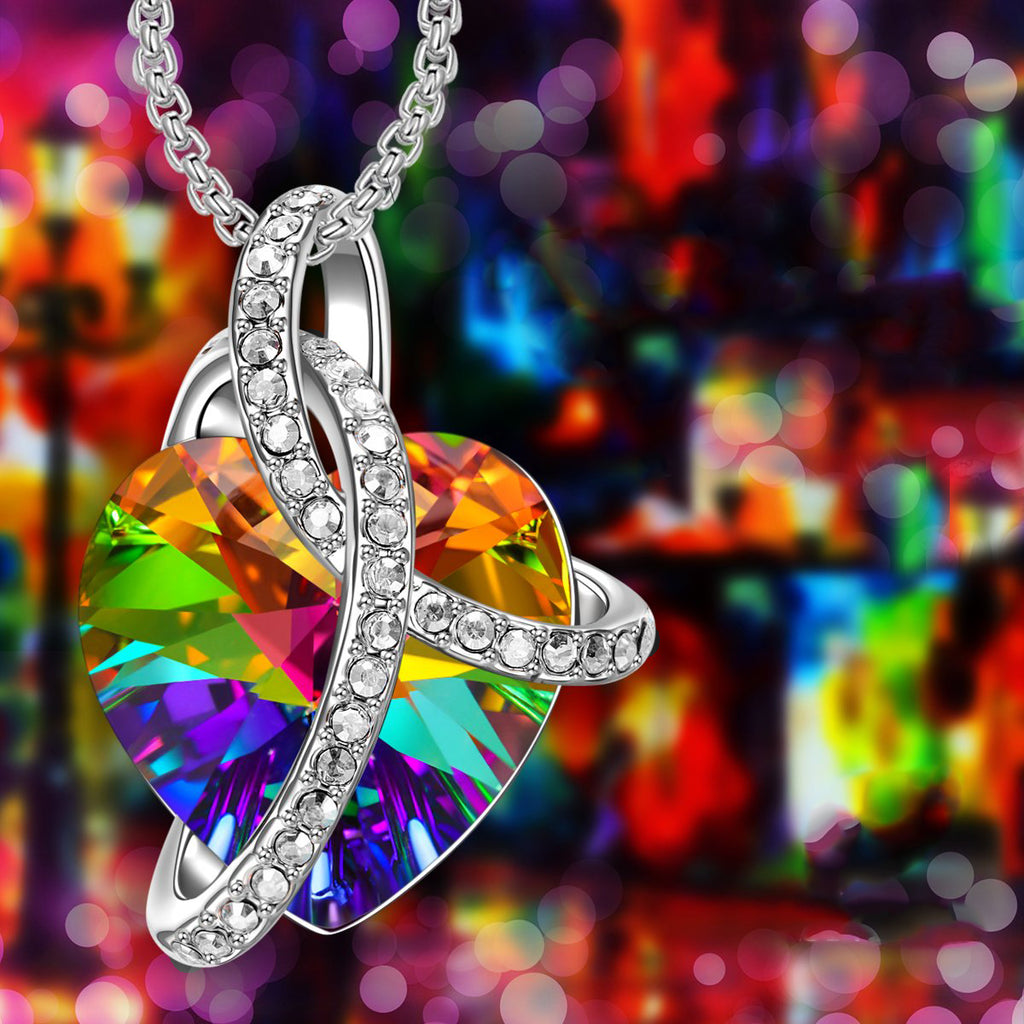 Rainbow Aurora Borealis Swarovski Elements Heart Necklace in 18K White Gold Plated