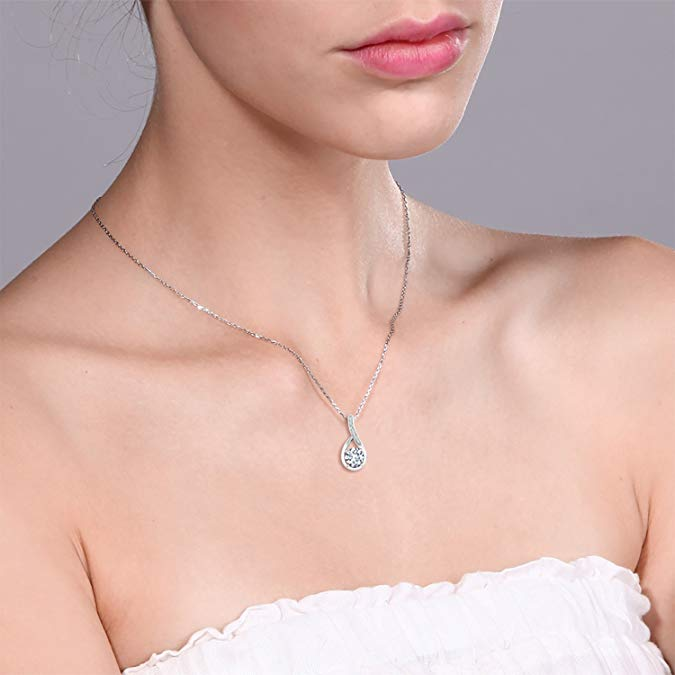 Classic Teardrop Pave Necklace Embellished with Swarovski Elements in 18K White Gold Plated, Necklace, Golden NYC Jewelry, Golden NYC Jewelry  jewelryjewelry deals, swarovski crystal jewelry, groupon jewelry,, jewelry for mom,