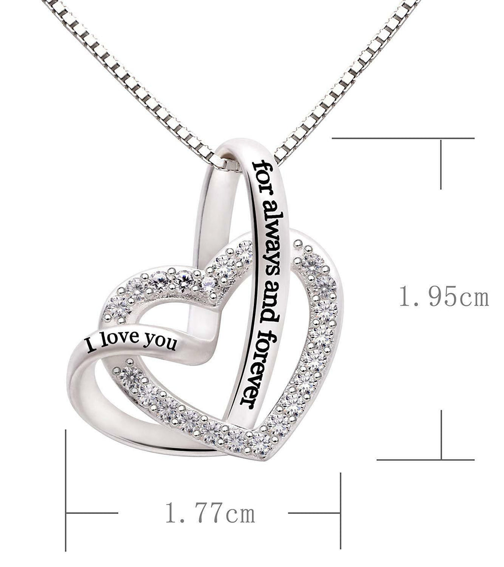 """I Love you Forever and Always"" Heart Necklace Embellished with Crystals in 18K White Gold Plated"