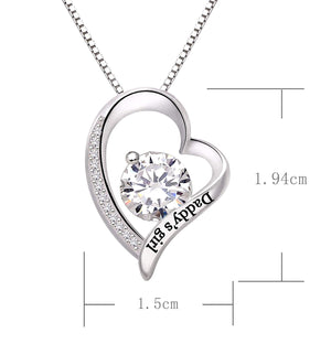 """Daddys Girl"" Heart Necklace Embellished with Swarovski Crystals in 18K White Gold Plated, Necklace, Golden NYC Jewelry, Golden NYC Jewelry  jewelryjewelry deals, swarovski crystal jewelry, groupon jewelry,, jewelry for mom,"