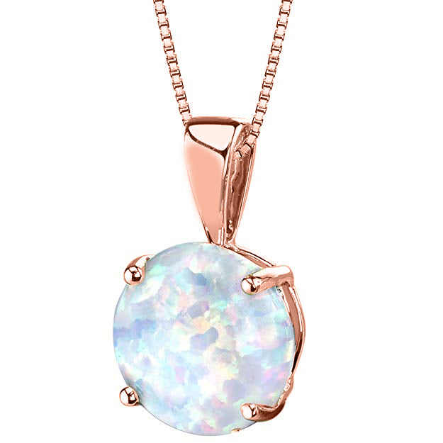 Simplistic Oceanic Opal Princess Cut Necklace in 14K Rose