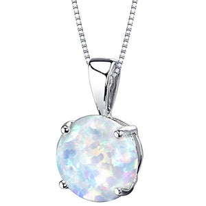 Simplistic Oceanic Opal Princess Cut Necklace in 14K Silver