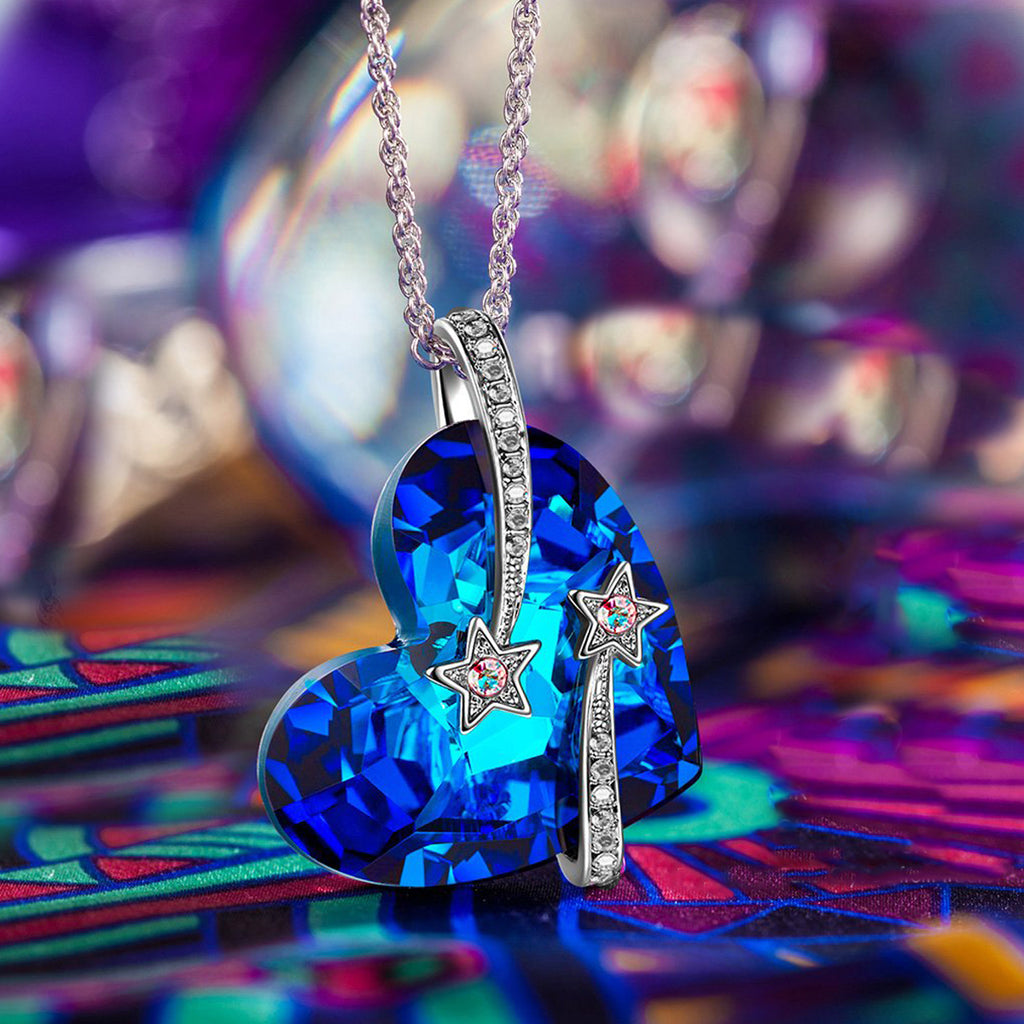 Bermuda Blue Swarovski Elements Stars in the Sky Pendant Necklace in 14K White Gold
