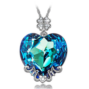 Light Blue Austrian Heart Shaped Pav'e Clover Necklace in 14K White Gold