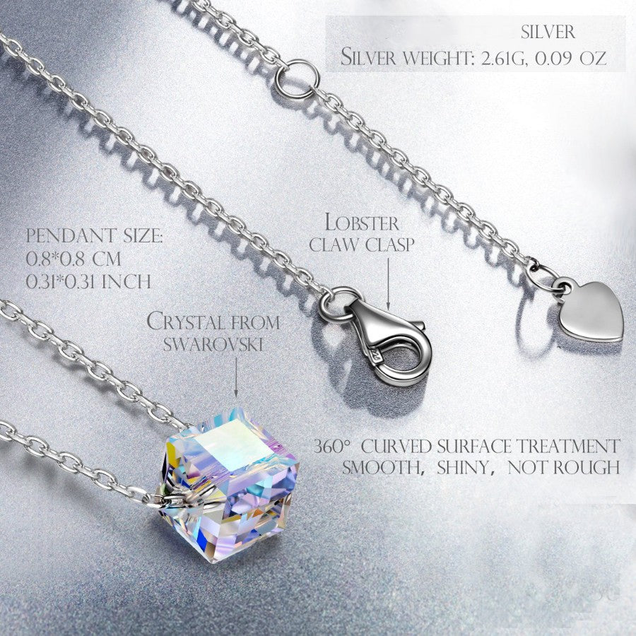 Aurora Borealis Austrian Elements Cubed Necklace in 14K White Gold